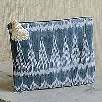 Cotton cosmetic bag, 'Atitlan Breeze' - Handwoven Blue and Grey Maya Ikat Cotton Cosmetic Bag