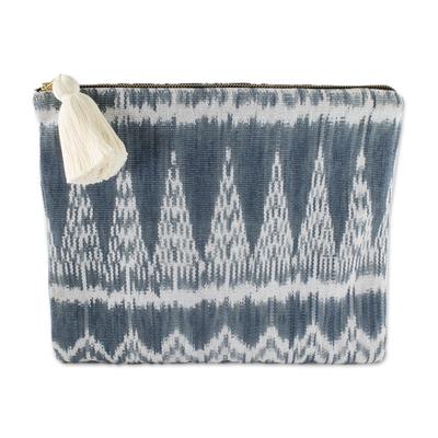 Handwoven Blue and Grey Maya Ikat Cotton Cosmetic Bag