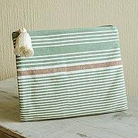 Cotton cosmetic bag, 'Cool Meadows' - Handwoven Green and Ivory Striped Cotton Cosmetic Bag