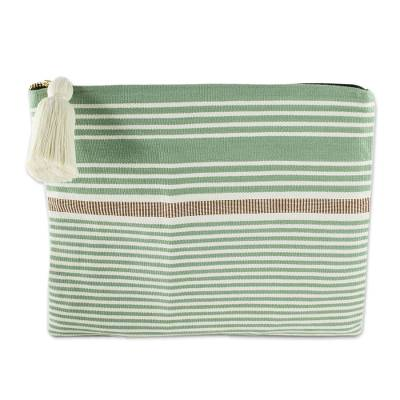 Handwoven Green and Ivory Striped Cotton Cosmetic Bag