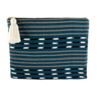 Handwoven Teal Blue and Brown Striped Cotton Cosmetic Bag