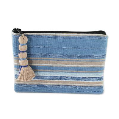 Handwoven Blue and Beige Striped Cotton Cosmetic Bag