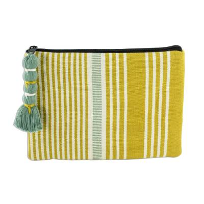 Backstrap Loom Yellow and Green Striped Cotton Cosmetic Bag