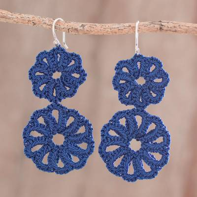 Hand-tatted dangle earrings, 'Rosy Round in Navy' - Round Hand-Tatted Dangle Earrings in Navy from Guatemala