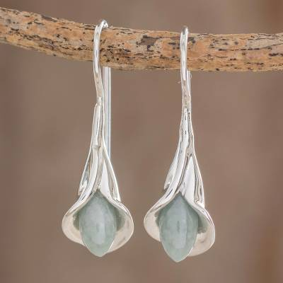 Jade drop earrings, 'Apple Green Calla Lilies' - Jade and Silver Floral Drop Earrings from Guatemala