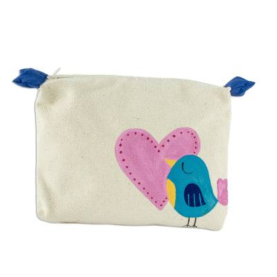 Hand-Painted 7 Inch Ivory Cotton Bird Theme Cosmetic Bag