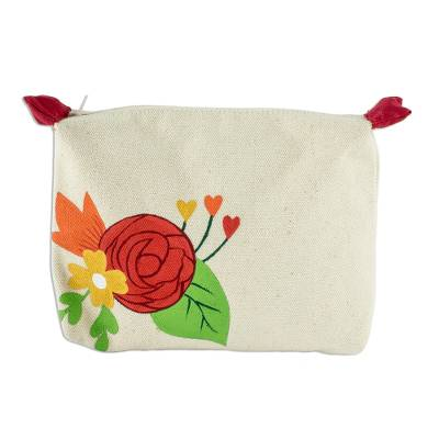 Hand-Painted 7 Inch Ivory Cotton Rose Theme Cosmetic Bag