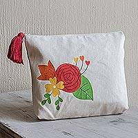 Cotton cosmetic bag, 'Love Blossom' (9 inch) - Hand-Painted 9 Inch Ivory Cotton Rose Theme Cosmetic Bag