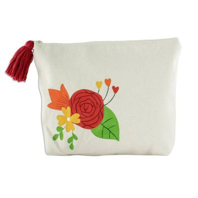 Hand-Painted 9 Inch Ivory Cotton Rose Theme Cosmetic Bag