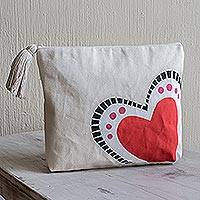 Cotton cosmetic bag, 'The Heart Sings' - Hand-Painted 7 Inch Ivory Cotton Heart Theme Cosmetic Bag