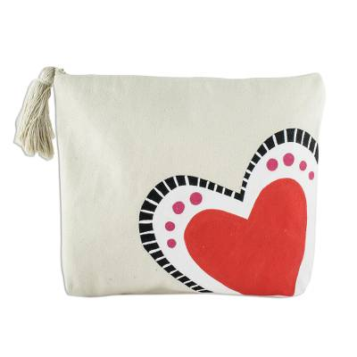 Hand-Painted 7 Inch Ivory Cotton Heart Theme Cosmetic Bag