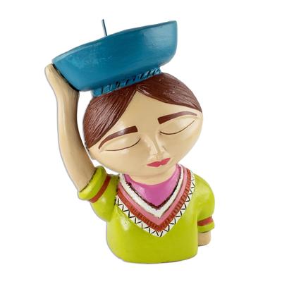 Colorful Salvadoran Ceramic Candleholder