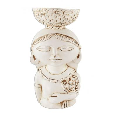 Ceramic Candle Holder of a Young Salvadoran Woman