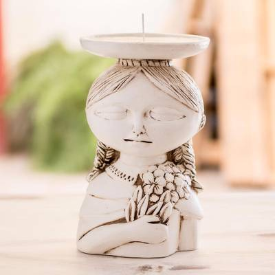 Ceramic candleholder, 'Woman from Cabañas' - White Ceramic Salvadoran Woman Candleholder
