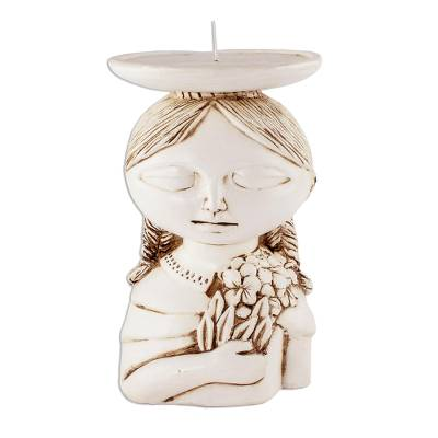 White Ceramic Salvadoran Woman Candleholder