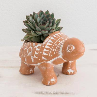 Terracotta flower pot, 'Cheerful Brown Turtle' - Brown Ceramic Turtle Flower Pot from El Salvador