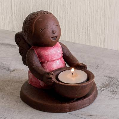 Ceramic tealight candleholder, 'Little Angel' - El Salvadoran Ceramic Angel Candleholder