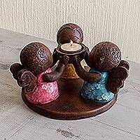 Ceramic tealight candleholder, 'Angel Trio' - Salvadoran Ceramic Angel Tealight Candleholder