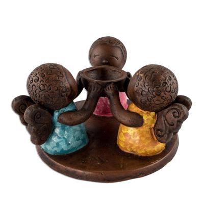 Salvadoran Ceramic Angel Tealight Candleholder