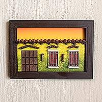 Wood diorama, 'El Salvador Memories' - Framed Wood Low Relief Traditional Home Façade Diorama