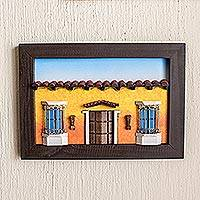 Wood diorama, 'Sweet Salvadoran Home' - Framed Wood Low Relief Yellow House Facade Diorama