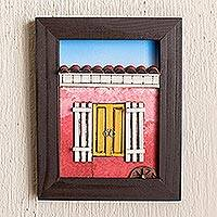 Wood diorama, 'Nostalgia' - Framed Wood Low Relief Red Country House Diorama