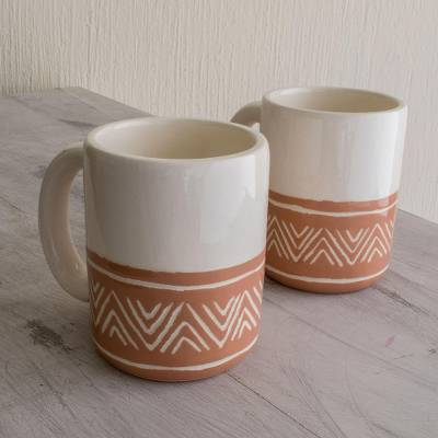 Ceramic mugs, 'Tazumal Arrows' (pair) - Hand Crafted Ceramic Mugs with Arrow Motif (Pair)