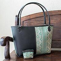 Handwoven cotton and faux leather shoulder bag, 'Feminine Subtlety in Aqua' - Hand Crafted Woven Cotton and Faux Leather Shoulder Bag