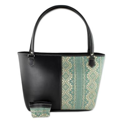 Hand Crafted Woven Cotton and Faux Leather Shoulder Bag