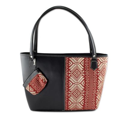 Black Faux Leather and Woven Cotton Shoulder Bag