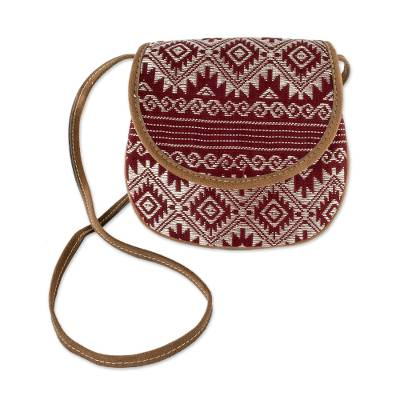 Hand Woven Red and Beige Cotton Sling Bag