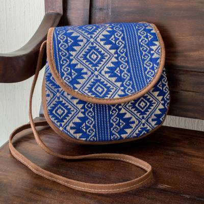 Handwoven cotton and faux suede sling, Feminine Subtlety in Blue