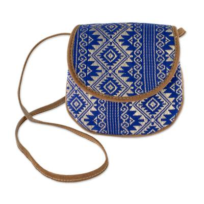 Blue and Beige Cotton Sling Bag from Guatemala