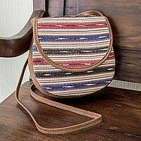 Handwoven cotton and faux suede sling, 'Singular Stripes' - Hand Woven Cotton Striped Sling Bag