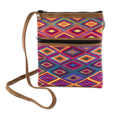 Cotton and Faux Suede Sling with Hand Woven Panel