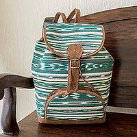 Cotton backpack, 'Antigua Fields' - Green Jaspe Weave Cotton Backpack from Guatemala