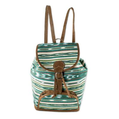 Green Jaspe Weave Cotton Backpack from Guatemala