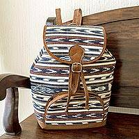 Cotton backpack, 'Antigua Azul' - Hand Woven 100% Cotton Unisex Backpack