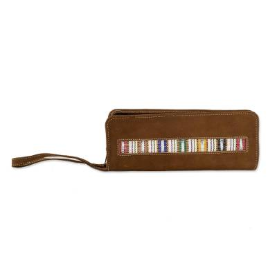 Faux Suede and Cotton Checkbook Wallet Wristlet