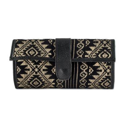 Black and Wheat Cotton and Faux Leather Wallet