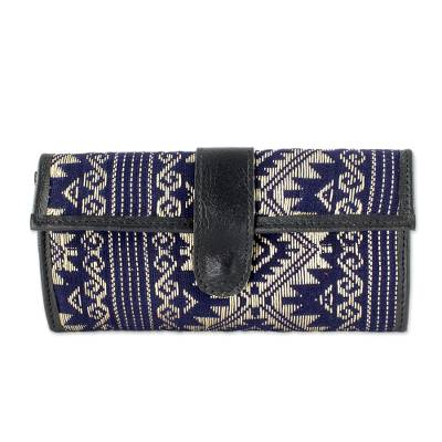 Navy and Beige Cotton and Faux Leather Wallet