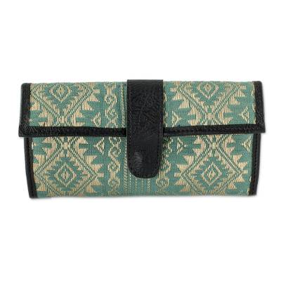Artisan Crafted Wallet in Aqua and Wheat Cotton