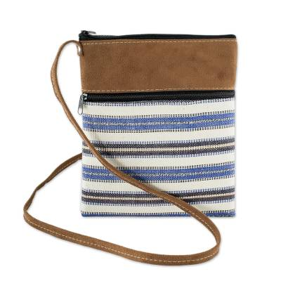 Blue Striped Sling Hand Crafted of Cotton from Guatemala