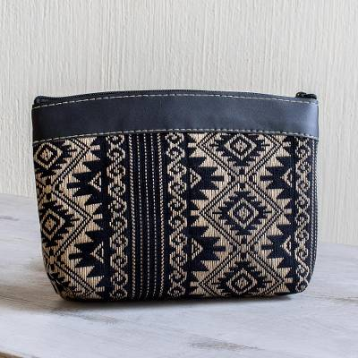 Handwoven cotton cosmetic bag, 'Sweet Journey in Black' - Black and Wheat Hand Woven Cotton Cosmetic Bag