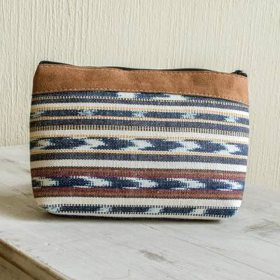 Handwoven cotton cosmetic bag, 'Antigua Azul' - Faux Suede Trimmed Cotton Cosmetic Bag
