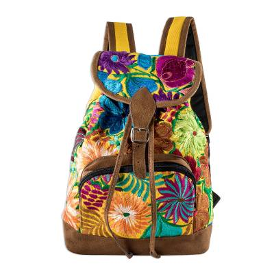 Floral All Cotton Backpack from Guatemala