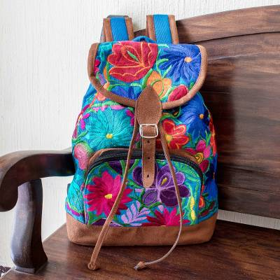 Cotton backpack, 'Flowers of Guatemala' - Hand Crafted Floral Cotton Backpack