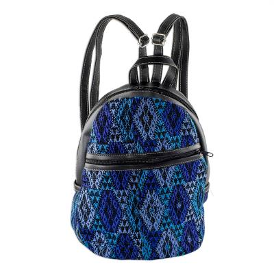 Blue Cotton and Black Faux Leather Backpack