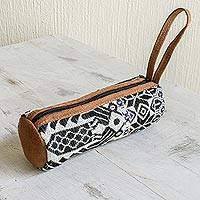Handwoven cotton travel case, 'Antigua Traditions' - Black and White Patterned Cotton Travel Case