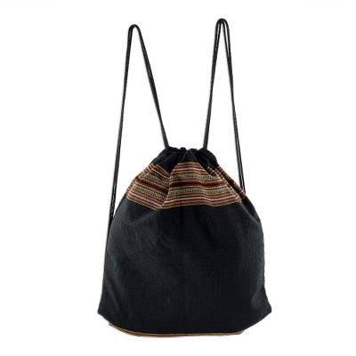 Lightweight Cotton Backpack in Black from Guatemala